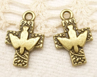 Peace Dove Crucifix Cross Charm, Antiqued Bronze (6) - A97