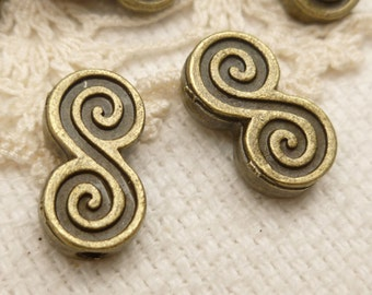 Swirl Wave Design Spacer Beads, Antique Bronze (10) - A135