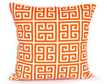 Orange Greek Key Lumbar Pillow Cover 12x18 inches