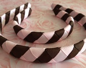 """Matching Set of Headbands for a girl and her 18"""" (American Girl) doll: Pink & Brown Stripe Pattern"""
