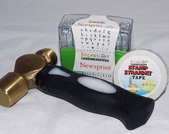 Newsprint Lower Case Letter Stamps 3mm With Hammer And Tape  Free US Shipping