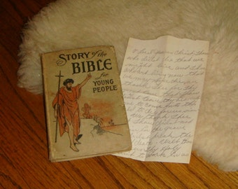 1911 Story of the Bible For Young People Book  Hand written prayer