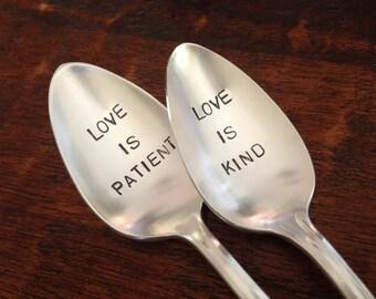 Love is Patient, Love is Kind   Wedding Spoons Hand Stamped Vintage Silverplate