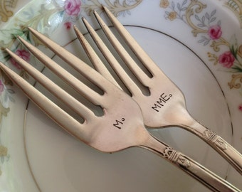 M and Mme   vintage recycled silverware hand stamped wedding fork cake fork