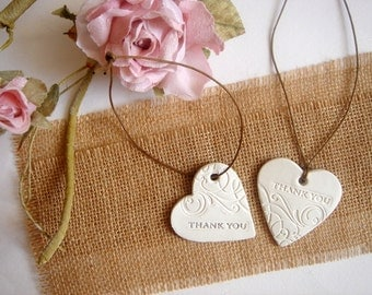 Wedding Hearts Favor, 50 Wedding Thank you Tags, Wedding Ceramic Favor