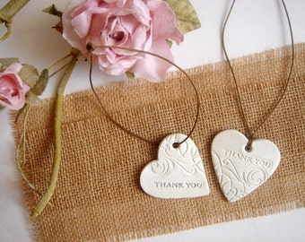 Wedding Favor,50 Wedding Thank you Tags,Wedding Ceramic Tag