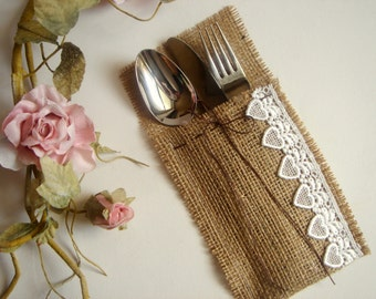 50 Eco friendly  Burlap Flatware Holders , Wedding Table Setting,Rustic Flatware Pockets