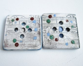 Music Notation - Two Large Polka Dotted Buttons