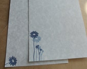 Blue parchment paper stationery set. Writing paper hand stamped with blue flowers, set of 30.