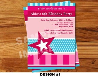 American Girl Invitation - Doll Invitation - American Girl Doll Birthday Invitation - Party Printable Invite - Photo Option - 3 Designs