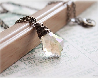 Glass necklace clear crystal wire wrapped faceted teardrop antiqued brass rustic witch costume minimalist dainty jewelry