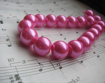 Hot Pink Glass Pearl Beads- 10mm round- set of 25