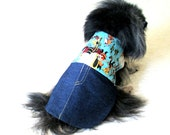 Western Dog Clothes Customize for Small Sizes - One-piece Multicolored Cowboy Shirt & Indigo Jeans Poodle, Customized for Fit