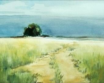 Romantic Landscape Watercolor Painting, Way to Nowhere, Original Fine Art, Realistic Painting Landscape, Meadow, Original Painting, Artdora