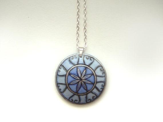 Elegant Blue Cobalt  Necklace Pendant - Hand Painted, Handmade Artist Jewelry, Charm, Tiny Art Painting