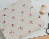 Classical Little Rose Linen Cotton Fabric, Natural Beige Linen With Tiny Pink Rose Flower - Fabric by Yard 1/2 yard