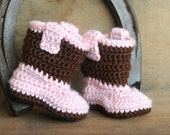 Baby Cowgirl Boots - Crochet Cowgirl Boots - Baby Girl Boots - Handmade Pink Baby Cowboy Boots - Western Wear Photo Prop - MADE TO ORDER