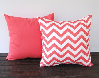 Coral throw pillow covers Pair cushion cover coral chevron pillow covers modern minimalist decor