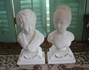 Vintage French Busts/Bookends-Wedding Table Setting-Alexander Backer Busts-Housewares-Home Decor figurines French Country