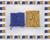 Felted  pouch yellow and purple