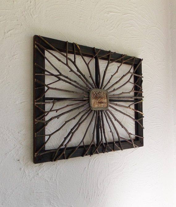 Lighted Twigs Home Decorating: Items Similar To Upcycled Reclaimed Frame Twig Art Birch