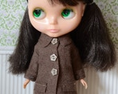 Blythe doll sized Milk Chocolate colour boiled wool blend coat.  For Blythe, Dal, Pullip, Licca or similar scale dolls