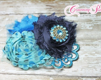 Navy Blue, Turquoise Headband, Hair Accessories, Fabric Flowers, Baby Girl Hair Bow, Aqua Clip, Fabric Flower Brooch, Pageant Photo Prop