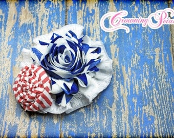 Royal Blue, Red, White, Navy Fabric Flower Headband, Hair Bow, Blue Hair Accessory, Baby Girl Headband, Newborn, Flower Hair Clip, Brooch