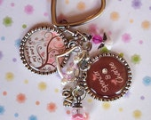Pink Bird Grandma-Mom-Nana-Granny- Bottlecap Keychain - Great Grandmother Christmas Present