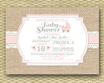 Baby Shower Invitation Burlap Lace Rustic Country Baby Girl Soft Pink Lace Burlap ANY COLORS, Any Event, Sip and See Baby Sprinkle