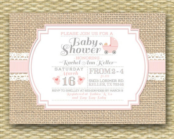 baby shower invitation burlap lace rustic country baby girl soft pink lace burlap any colors