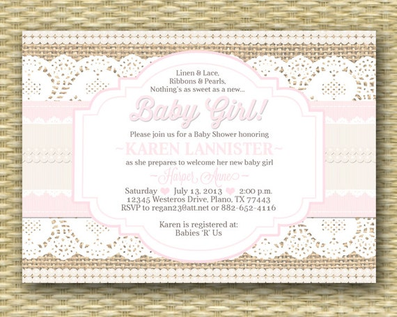 Shabby chic baby shower invitations diabetesmangfo baby shower invitation burlap lace ribbon pearls shabby chic baby shower filmwisefo