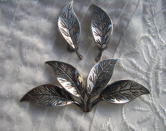 1950s David Andersen vintage 925 sterling silver designer leaf brooch pin and clip earrings Norwegian