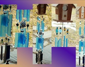 Birdhouse Glass Windchimes Birdhouse Windchime Blue Windchime Garden Decor Stained Glass Windchime Songbirds