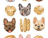 Fine Art Print - French Bulldogs and French Bread Illustration