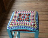 """Kitchen Stool with Granny Square Crochet Cover Turquoise 30"""" Bar Stool Upcycle Recycle Littlestsister"""