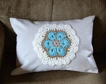 Pillow Crochet African Flower Applique Turquoise Beige White Throw Pillow Decorative Pillow Handmade LittlestSister