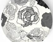 Roses BW melamine plate