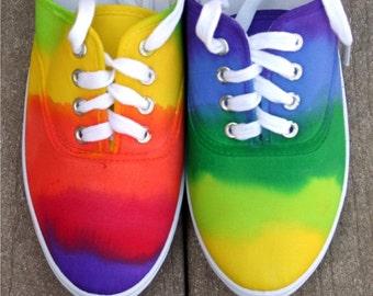 RAINBOW sneakers, shoes, sneakers,  OOAK, custom sneakers, handpainted shoes, hand dyed sneakers