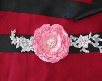 Pink Black Flower Wedding Ribbon Sash/ Handmade Accessory/