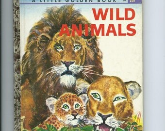 "Vintage Little Golden Book Wild Animals 1960 ""A"" Ed. Great Learning Tool With Great Art"