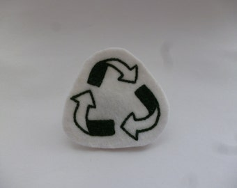 Green Recycling Embroidered Patch - Eco Friendly Upcycled Patch