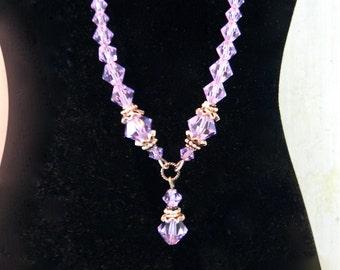 Vintage 1980s Sterling Silver and Amethyst Lavender Swarovski Crystal Necklace