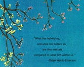 Tree / What Lies Within / Thoughtful Quotes / Plaque Wall Art / Gift / Ralph Waldo Emerson