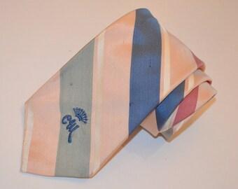 Countess Mara Pink Tie, Vintage Men's Necktie, Pink Striped Necktie, 60's Tie