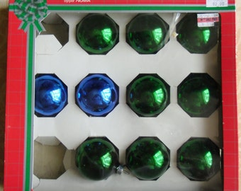 Vintage Christmas Glass Ornaments - Noma Doubl Glo, 10 Glass Ornaments, Green and Cobalt Blue, Original Box