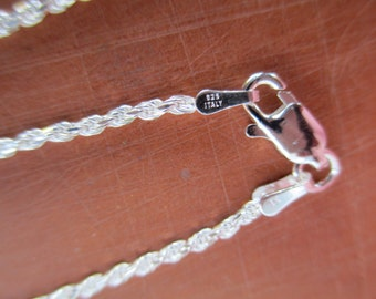 18 inch Sterling Silver Rope Chain, Necklace with Sterling Lobster Claw Clasp