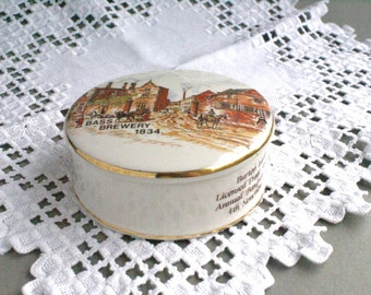 Vintage Round Porcelain Box  Burton Ladies Licensed Trade Auxiliary Annual Banquet & Ball 4th November 1987