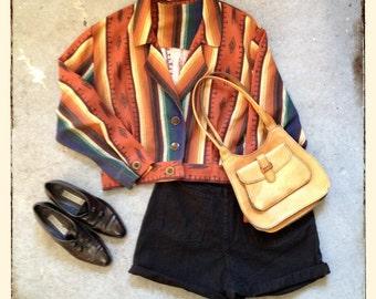 vintage 90s southwestern jacket in orange & blue. retro outerwear.