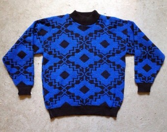 vintage 1980s southwestern sweater in black & blue sparkle. 80s pullover jumper. retro clothing.